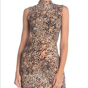 Sharagano – Mock Neck Leopard Print Dress size 14